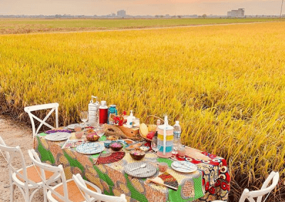 يوم مع العائلة لتناول الطعام وقت الغروب (1)